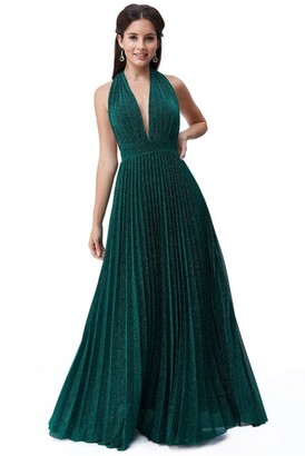 Goddiva Deep V Neck Lurex Maxi Dress