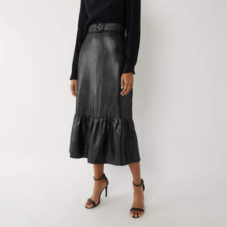Warehouse METALLIC TIERED MIDI SKIRT