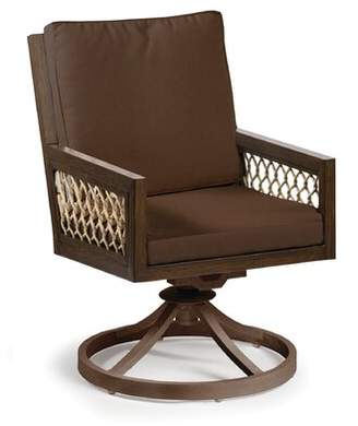 Eddie Bauer Echo Bay Swivel Teak Patio Dining Chair with Cushion Frame Color: Mahogany, Cushion Color: Canvas Natural