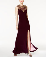 Betsy & Adam Embellished Open-Back Gown