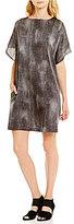 Eileen Fisher Bateau Neck Short Sleeve Printed Dress