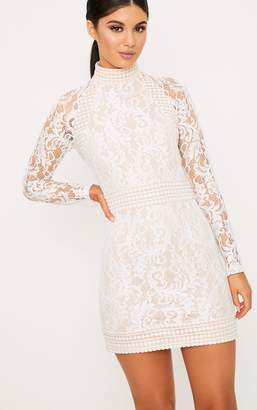 PrettyLittleThing Isobel White Lace High Neck Bodycon Dress