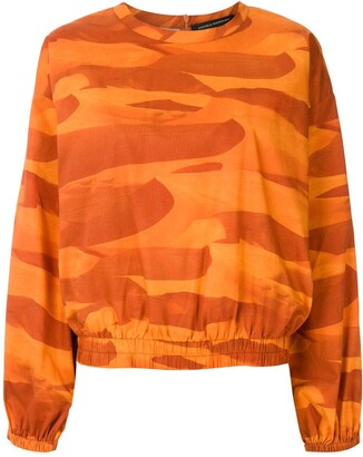 Andrea Marques Wide Sleeves Printed Blouse