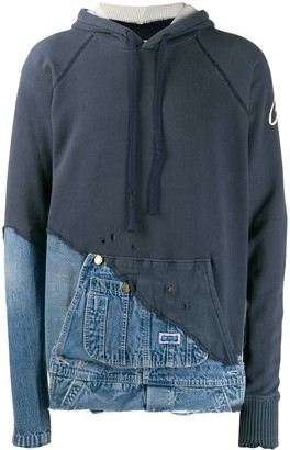 Greg Lauren fabric and denim hooded jacket
