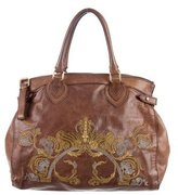 Roberto Cavalli Leather Embroidered Bag