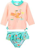 Candlesticks Flamingo Rashguard & Skirted Flamingo Print Bottom 2-Piece Set (Toddler Girls)