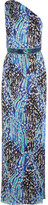 Matthew Williamson Akita One-shoulder Belted Printed Silk-chiffon Gown - Bright blue