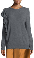 Elizabeth and James Orly Ruffle-Trim Pullover Sweater, Charcoal