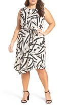 Foxcroft Plus Size Women's Brushstroke Floral A-Line Linen Dress