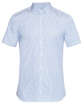 Joseph Jim Short-sleeved Striped Cotton-blend Shirt