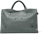 Balenciaga Blackout City L Perforated Matte-leather Tote - Dark gray