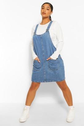 boohoo Plus Denim Pocket Pinafore Dress