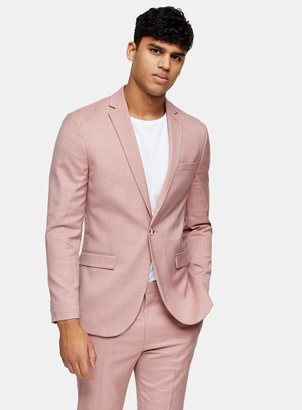 Topman Pink Slim Fit Single Breasted Suit Blazer With Peak Lapels