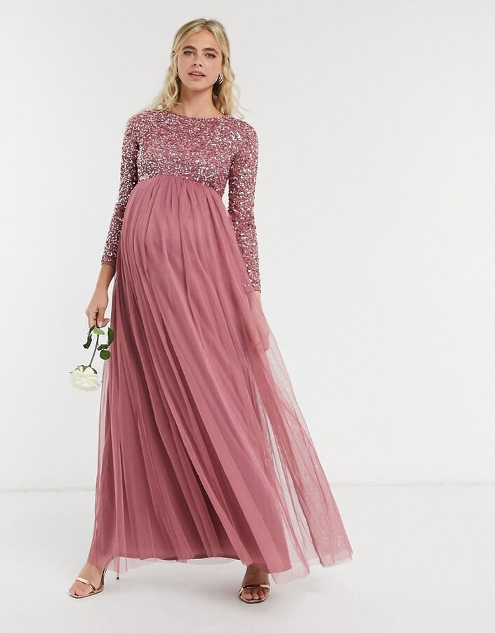 Thumbnail for your product : Maya Maternity delicate sequin long sleeve maxi dress with tulle skirt in rose