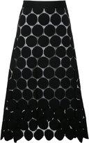 Le Ciel Bleu dotted lace flared skirt - women - Cotton/Nylon - 36