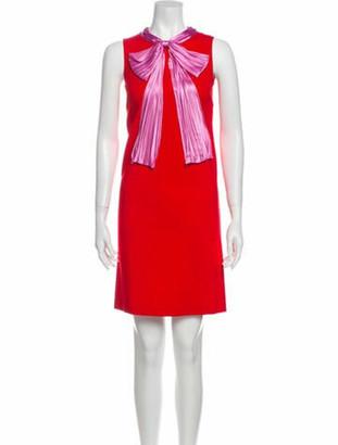 Gucci Tie Neck Mini Dress Purple