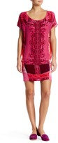 Hale Bob Short Sleeve Flocked Silk Blend Dress