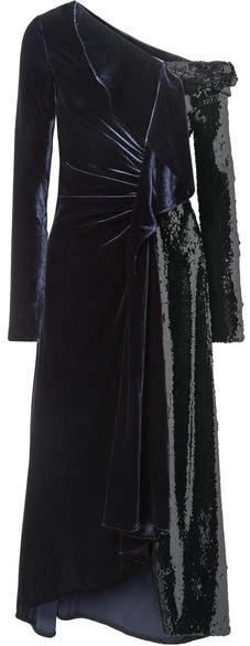Monse One-shoulder Ruffled Velvet And Sequined Tulle Gown - Black