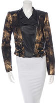 Yigal Azrouel Leather-Trimmed Distressed Jacket