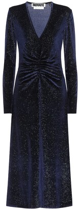 Rotate by Birger Christensen Stretch-velvet midi dress