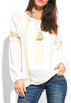 Miss June White Embroidered Tassel-Tie Scoop-Neck Top