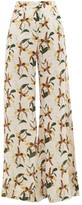 Adriana Degreas Leopard Orchid-print Voile Palazzo Trousers - Womens - White Print