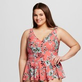 Sea Angel Women's Plus Size Vintage Floral Peplum Tankini Top Coral