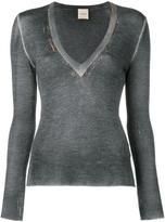 Nude V neck detail sweatshirt