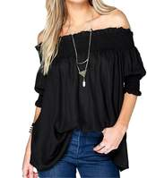 Bling Stars Womens Sexy Off Shoulder Short Sleeve Loose Blouse Shirts Tops
