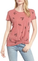 Stateside Women's Wine Floral Twist Front Tee