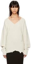 Helmut Lang Ivory Distressed V-neck Sweater