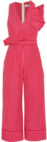 MSGM Ruffled Striped Cotton-poplin Jumpsuit - Red
