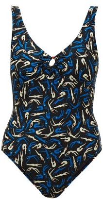 Diane von Furstenberg Lori Scoop-back Swimmers-print Swimsuit - Womens - Blue Multi