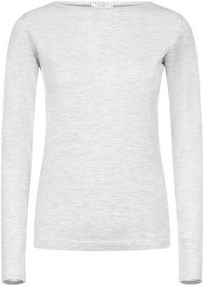 Brunello Cucinelli Slash Neck Long-Sleeve Sweater