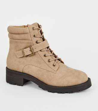 New Look Light Leather-Look Lace Up Hiker Boots