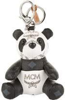 MCM Visetos Coated Canvas Panda Keyring, White, One Size