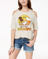 Mighty Fine Juniors' Cold-Shoulder Snoopy Graphic T-Shirt