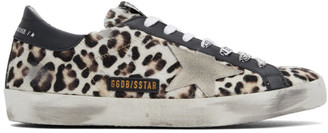 Golden Goose Beige and Brown Horsy Superstar Sneakers