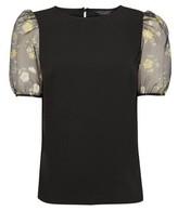 Dorothy Perkins Womens Black Floral Print Organza Puff Sleeve Top, Black