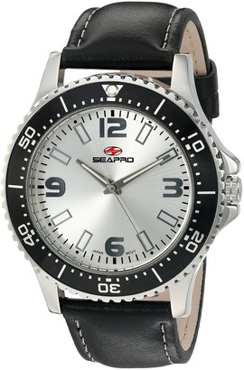 Seapro Men's SP5310 Tideway Black/Silver Stainless Steel and Leather Watch