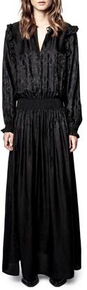 Zadig & Voltaire Roar Python Print Silk Blend Jacquard Long Sleeve Maxi Dress