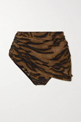 Norma Kamali Diana Ruched Tiger-print Bikini Briefs - Brown