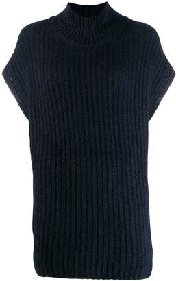Closed roll-neck knitted vest