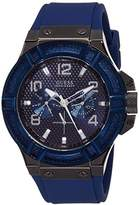 GUESS Men's Quartz Watch with Blue Dial Analogue Display and Blue Rubber Bracelet W0248G5