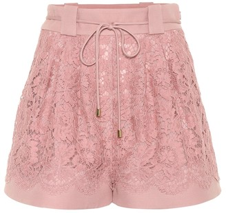 Valentino Wool and silk-blend lace shorts