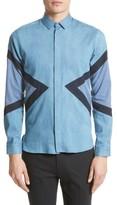 Neil Barrett Men's Modernist Retro Pieced Chambray Shirt