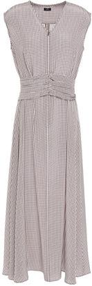 Joseph Tess Ruched Houndstooth Silk Crepe De Chine Midi Dress