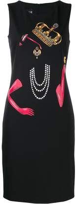 Moschino Queen print midi dress