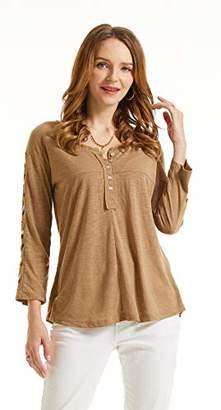 SONJA BETRO Women's Knit Embroidered Sleeve Henley Tunic/ /