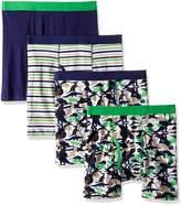 Trimfit Big Boys' 100 Percent Cotton Tagless Assorted Boxer Briefs 4-Pack (Football Stars: Navy/Orange/Yellow /White, S)